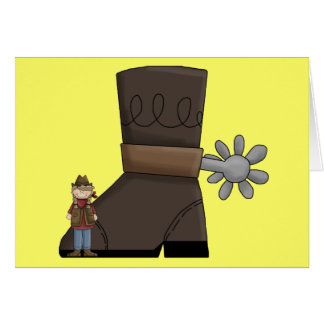 Fill Big Cowboy Boots - Country Western Blank Greeting Card