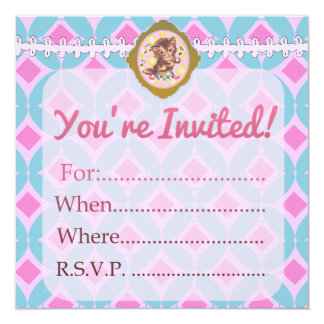 "Fill-In Cute Retro Kitty Custom Blank - 5.25"" Square Invitation Card"