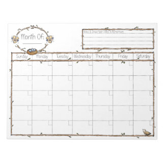 Fill in the Blank Calendar Note Pad