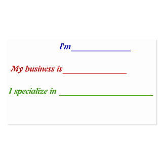 Fill-in-the-blank Pack Of Standard Business Cards