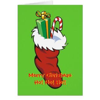 Filled Santa Stocking blank notelet / card