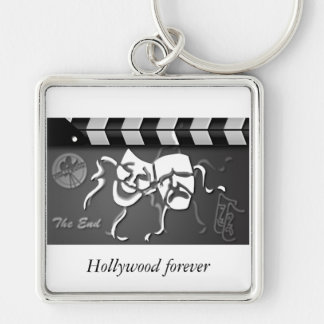 film clap crew Hollywood Silver-Colored Square Key Ring