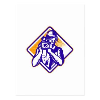 Film Crew Cameraman Holding Camera Retro Post Card