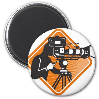 film crew cameraman shooting filming camera 6 cm round magnet