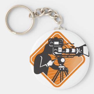 film crew cameraman shooting filming camera basic round button key ring