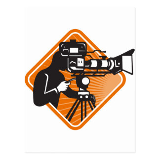 film crew cameraman shooting filming camera postcard
