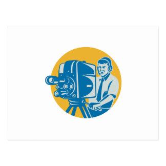 Film Crew TV Cameraman With Movie Camera Retro Postcard