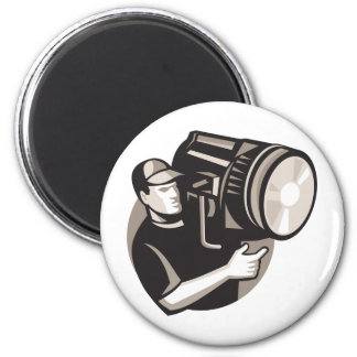 film crew with spotlight fresnel light 6 cm round magnet