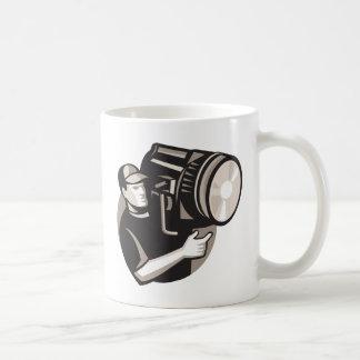 film crew with spotlight fresnel light coffee mug