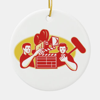 Film Director Movie Camera Clapper Soundman Round Ceramic Decoration