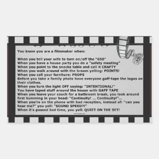 film motto movie reel script actor crew rectangular sticker