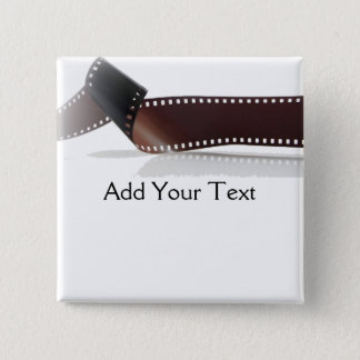 Film Strip with Reflection on White 15 Cm Square Badge