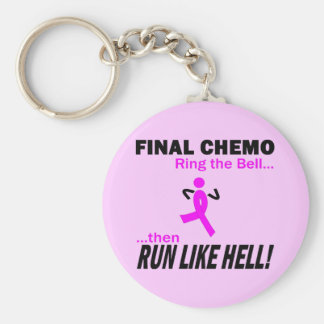 Final Chemo Run Like Hell - Breast Cancer Basic Round Button Key Ring