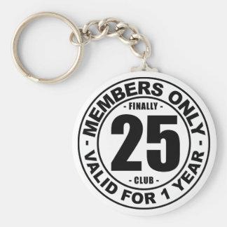 Finally 25 club basic round button key ring