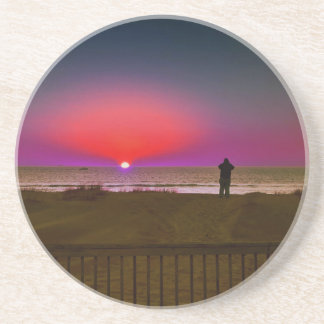 Finding Harmony in Balance Beach Sunrise Meditatio Coaster
