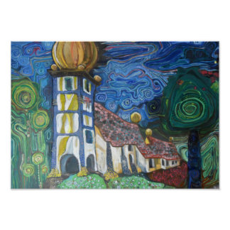 Fine art inspired by Hundertwasser Poster