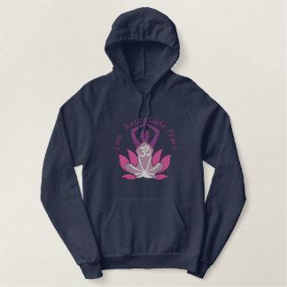 Fine Namaste Lotus Om Yoga Pose Embroidery Embroidered Hoodie