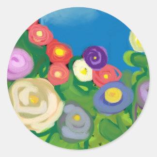 finger-paint-garden classic round sticker