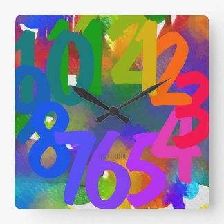 Finger-Paint Square Wall Clock