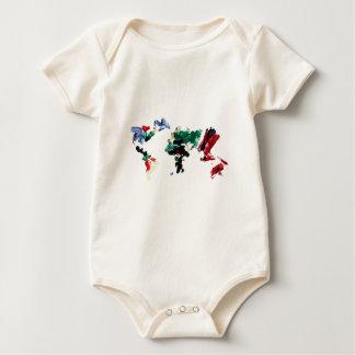 Finger Paint World Map Baby Bodysuit