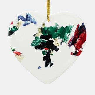 Finger Paint World Map Ceramic Heart Decoration