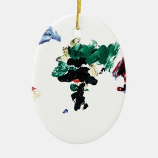 Finger Paint World Map Ceramic Oval Decoration
