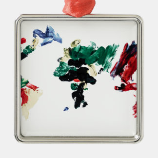 Finger Paint World Map Silver-Colored Square Decoration