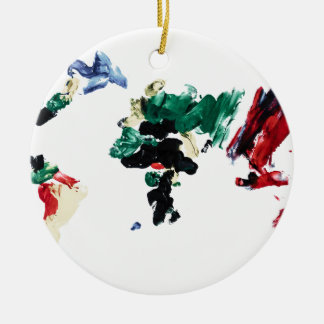 Finger Paint World Map Christmas Tree Ornaments