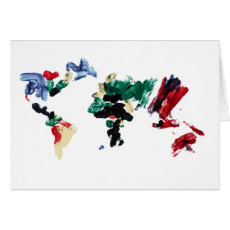 Finger Paint World Map Greeting Card