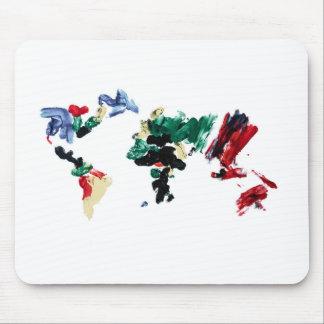 Finger Paint World Map Mouse Pad