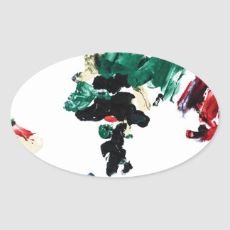 Finger Paint World Map Oval Sticker