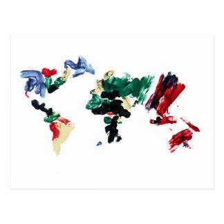 Finger Paint World Map Postcard