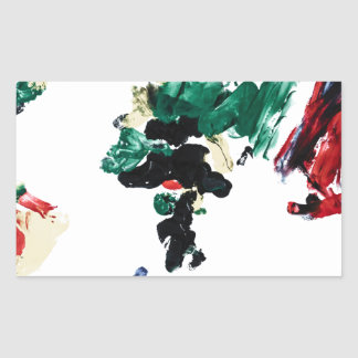 Finger Paint World Map Rectangular Sticker