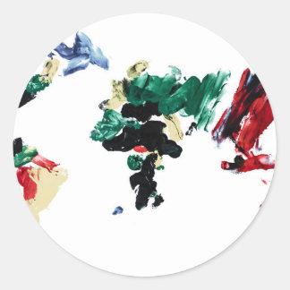 Finger Paint World Map Round Sticker