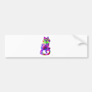 Finger painted colorful cat bumper sticker