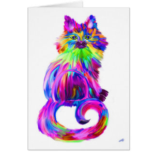Finger painted colorful cat card