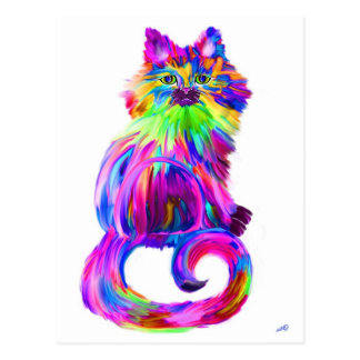 Finger painted colorful cat postcard