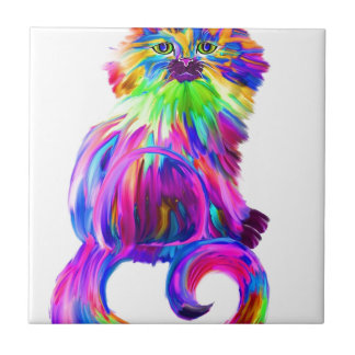 Finger painted colorful cat small square tile