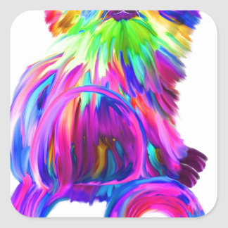Finger painted colorful cat square sticker