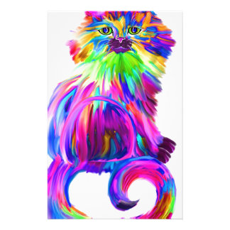 Finger painted colorful cat stationery design