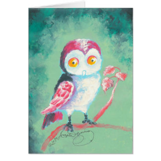 Finger Painted Owl Art Greeting Card