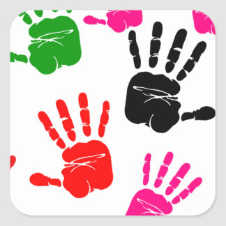 finger painting hands square sticker