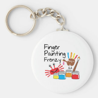 Finger Painting Basic Round Button Key Ring