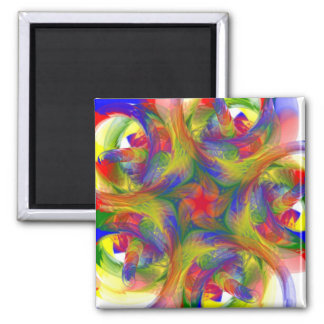 Finger Painting Square Magnet
