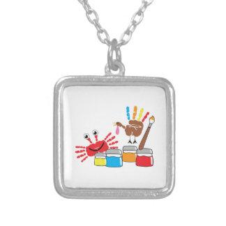 Finger Painting Square Pendant Necklace