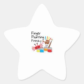 Finger Painting Star Sticker