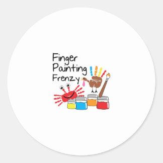 Finger Painting Round Sticker