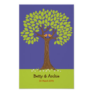 Fingerprint / Signature Tree Wedding (Dark Blue) Poster