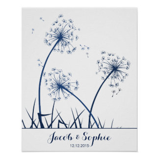 fingerprint wedding guest book dandelion poster