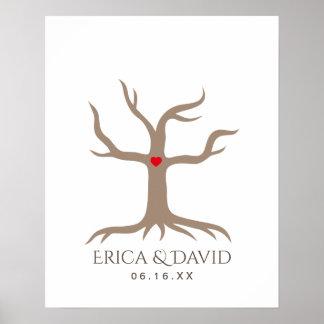 Fingerprint Wedding Guest Book Tree Poster